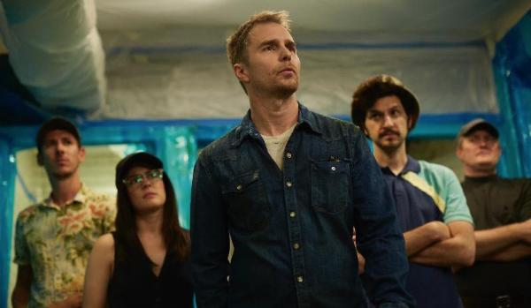Sam Rockwell, Robin Hellier, Al Weaver, Ben Schwartz, And Phoebe Fox In Blue Iguana (2018)