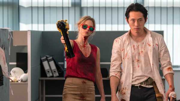 Steven Yeun And Samara Weaving in Mayhem