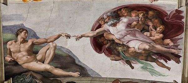 The Creation Of Adam Is A Fresco Painting By Michelangelo
