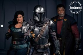 The Mandalorian Season 2 - (Left to right) Gina Carano is Cara Dune, Pedro Pascal is the Mandalorian and Carl Weathers is Greef Karga