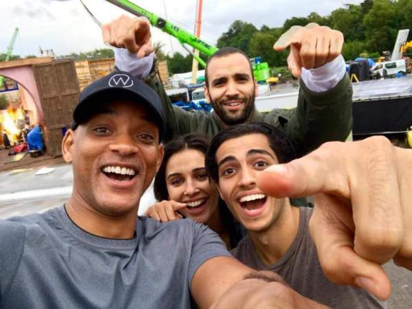 Will Smith, Marwan Kenzari, Naomi Scott, And Mena Massoud in Aladdin Movie