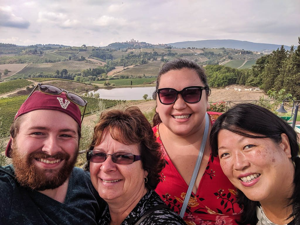 selfie with view of San Gimignano