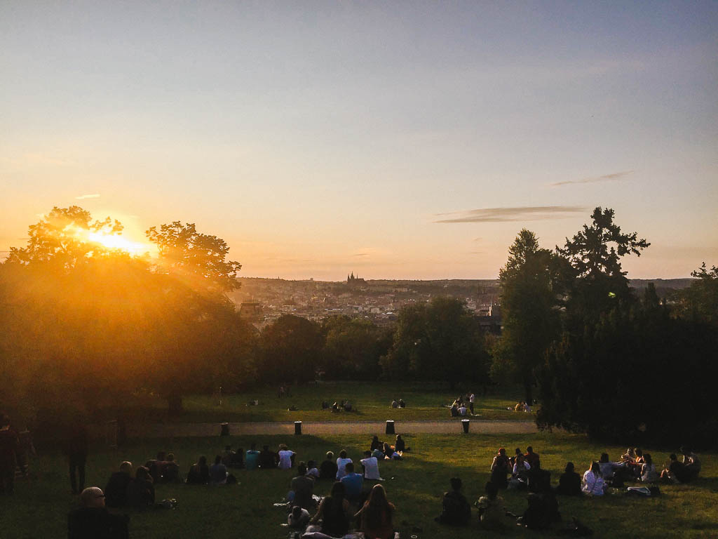 The view from Riegrovy Sady as the sun sets