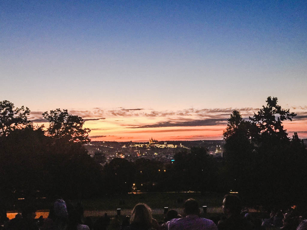 The view from Riegrovy Sady at night