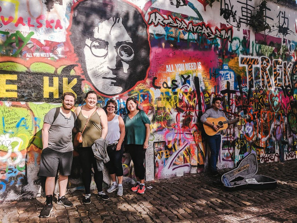 John Lennon Wall with Colin and the moms