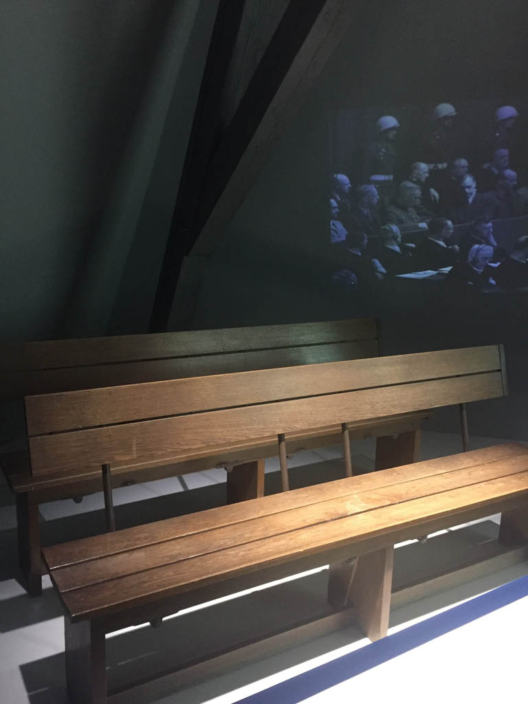 The bench where the convicted sat during the Nuremberg Trials