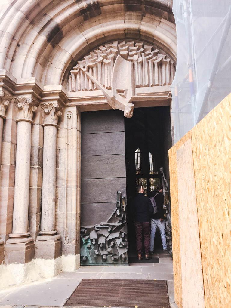 Cool front door on St. Sebald or Sebalduskirche in Nuremberg