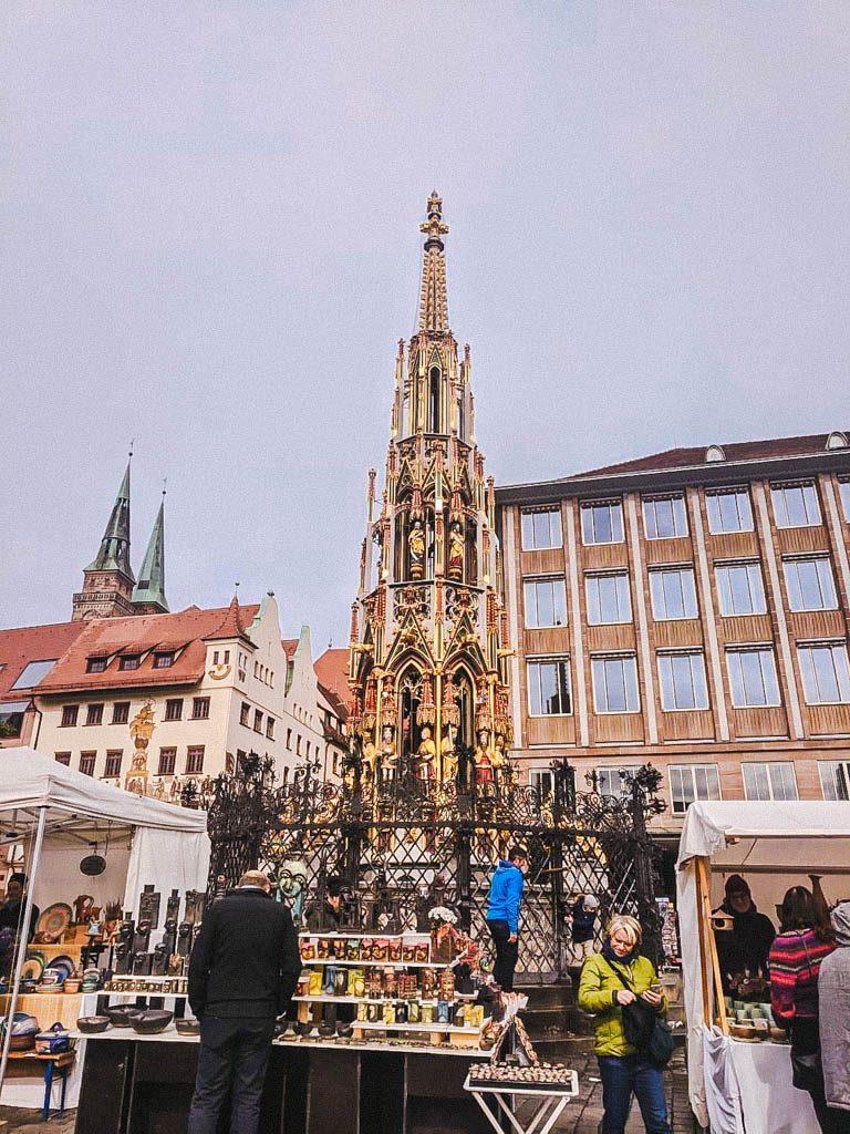 Schöner Brunnen, the gold fountain in Nuremberg