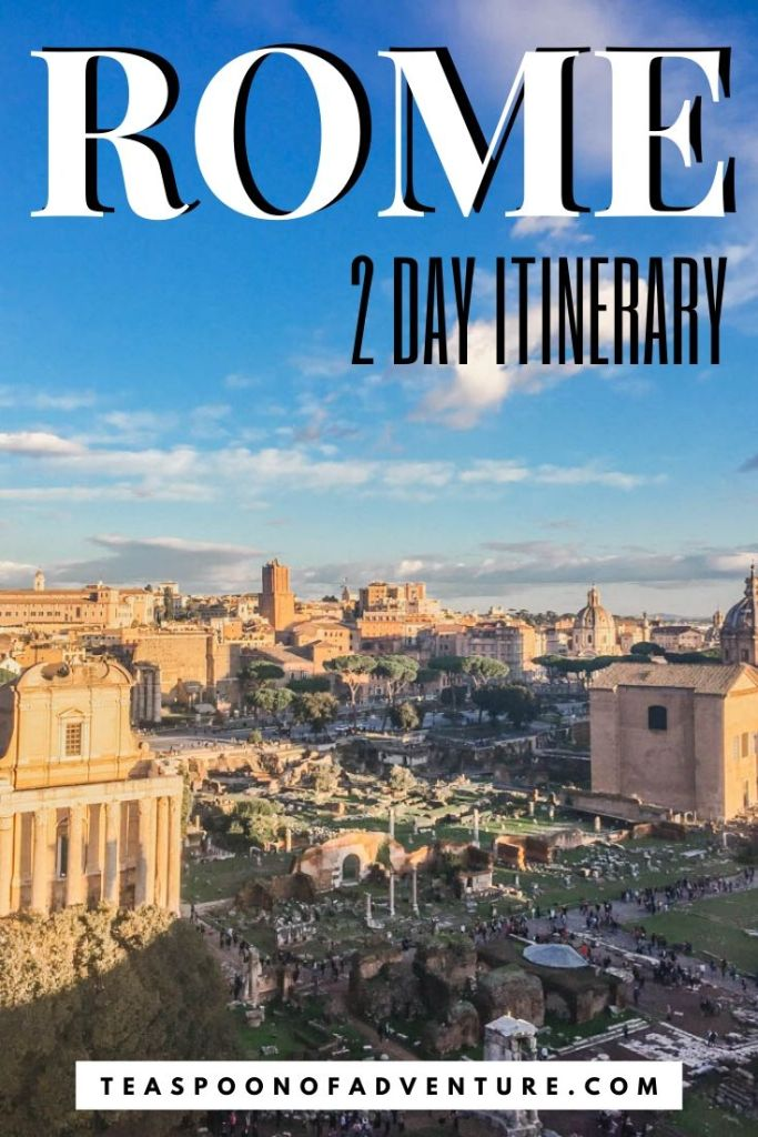 Check out my itinerary for two days in Rome, Italy! With only 2 days in Rome, you have just enough time to tour the Colosseum, toss a coin in the Trevi Fountain, and grab a scoop (or two) of gelato! #italy #rome #europe #travel #traveltips #romeitinerary #italyitinerary #colosseum #romanforum