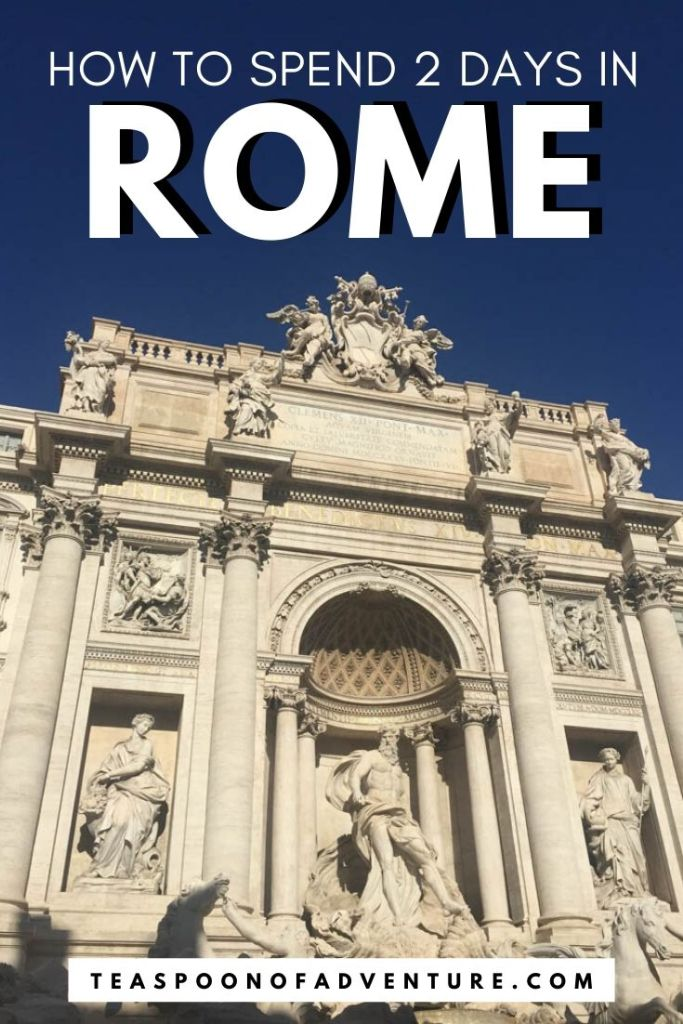Check out my itinerary for two days in Rome, Italy! With only 2 days in Rome, you have just enough time to tour the Colosseum, toss a coin in the Trevi Fountain, and grab a scoop (or two) of gelato! #italy #rome #europe #travel #traveltips #romeitinerary #italyitinerary #trevifountain