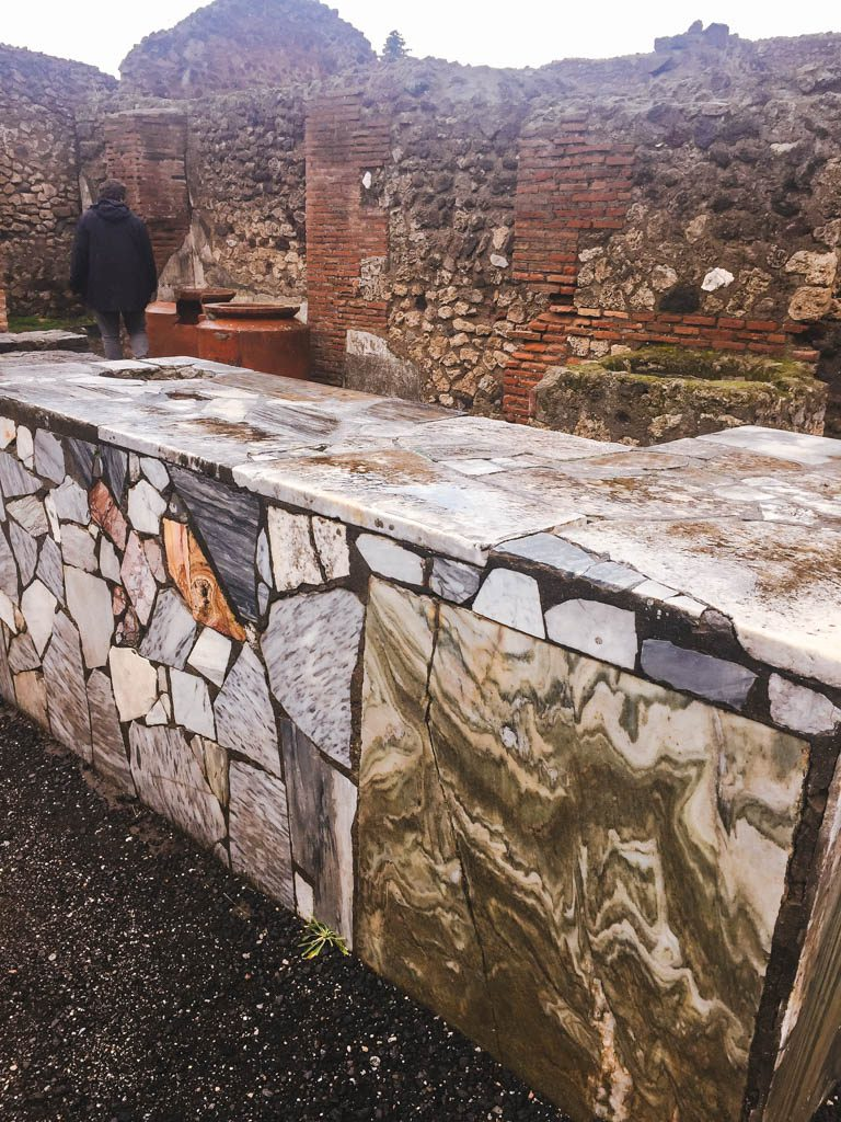 Marble table where food was served in Pompeii