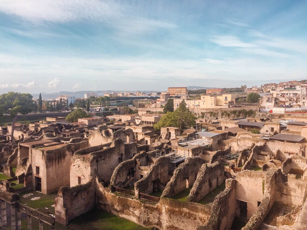 View over Herculaneum, Italy