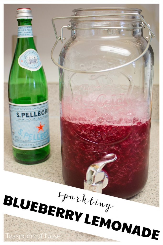 Perfect for a hot day or summer party, this sparkling blueberry lemonade is delicious and refreshing! | Teaspoon of Nose