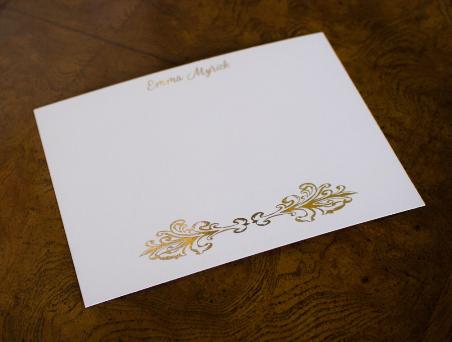 Gold stationery, customized by Teaspoon of Nose