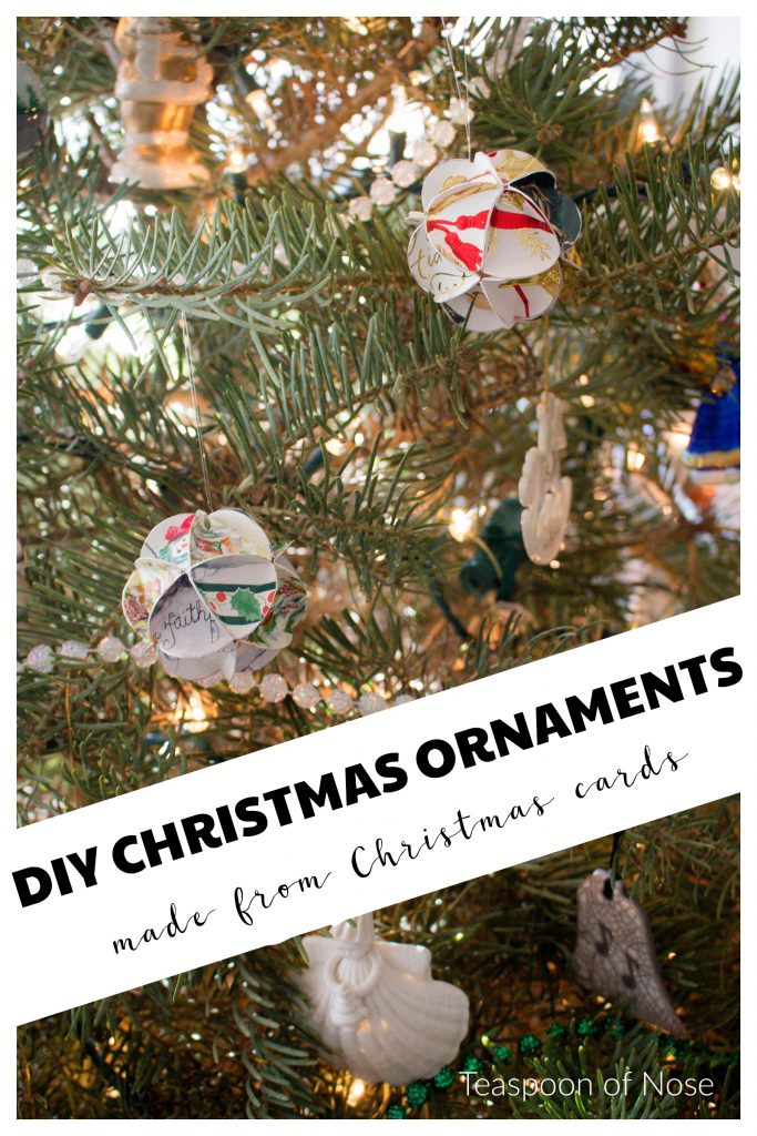 Looking for easy DIY Christmas ornaments? These are kid friendly and made out of old Christmas cards! | Teaspoon of Nose