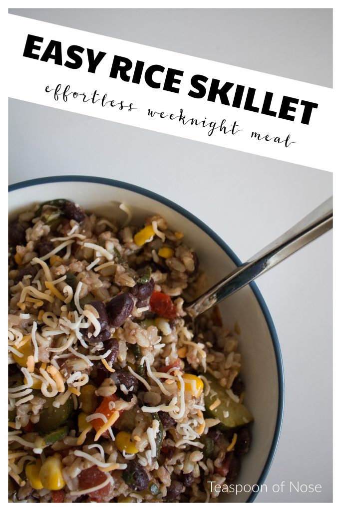 This rice skillet dish is hearty, easy, vegetarian, and a great way to use up those random vegetables in the fridge! | Teaspoon of Nose