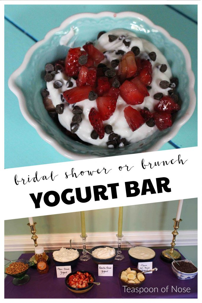 Serving a yogurt bar makes for the perfect brunch-themed bridal shower! | Teaspoon of Nose