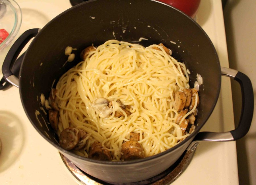 I love easy weeknight pastas. This one has sausage, mushrooms, and an easy egg sauce! | Teaspoon of Nose