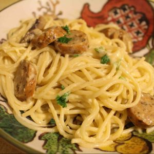 I love easy weeknight pastas. This one has sausage, mushrooms, and an easy egg sauce!   Teaspoon of Nose