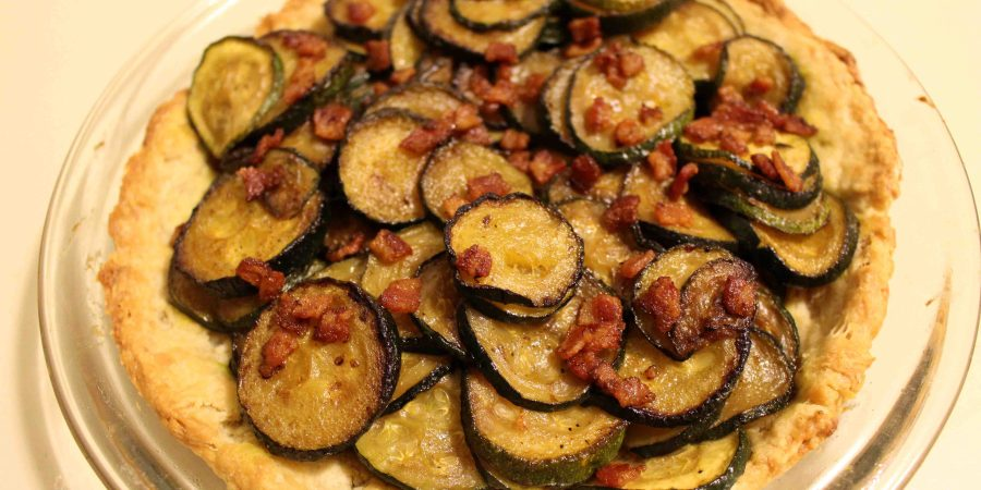 Zucchini tart with bacon is a fun French side dish! | Teaspoon of Nose