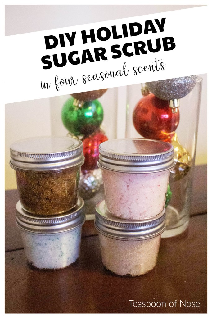 These holiday sugar scrubs are a five-minute kid-friendly DIY and make fantastic seasonal gifts with ingredients you already have in your home! | Teaspoon of Nose