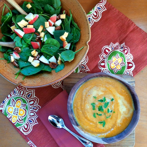 Fall Apple Salad with Apple Butternut Squash Soup