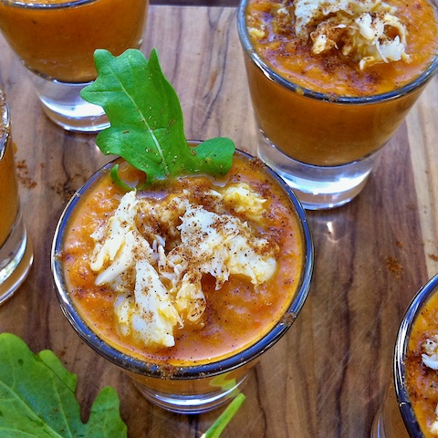 Roasted Carrot Crab Bisque Shooters