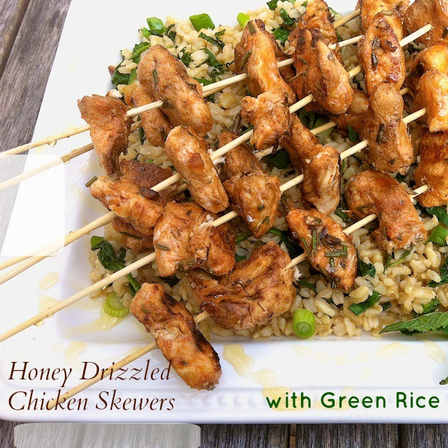 Honey Drizzled Chicken Skewers with Green Rice | Teaspoonofspice.com