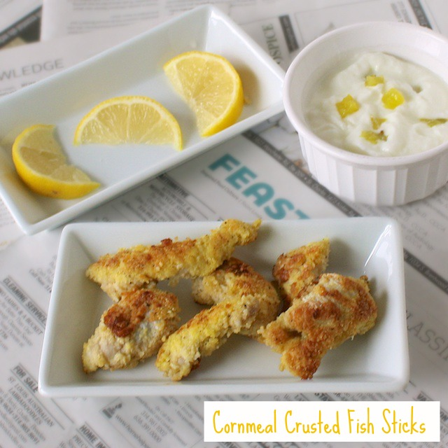 Cornmeal Crusted Fish Sticks | Teaspoonofspice.com