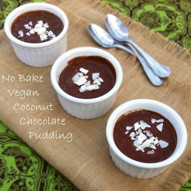 No Bake Vegan Coconut Chocolate Pudding | Teaspoonofspice.com