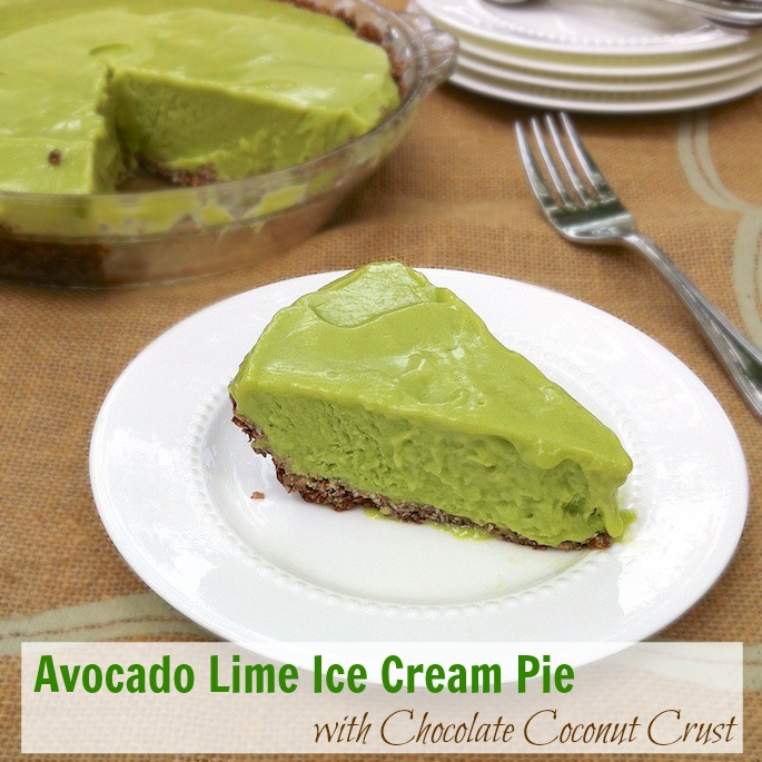 Avocado Lime Ice Cream Pie with Chocolate Coconut Crust | Teaspoonofspice.com