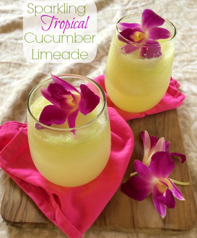 Sparkling Orchid Cucumber Limeade | Teaspoonofspice.com