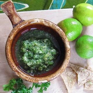 Tomatillo Salsa Verde with Lime Salt Tortilla Chips
