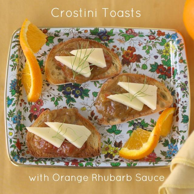 Crostini Toasts with Orange Rhubarb Sauce   Teaspoonofspice.com