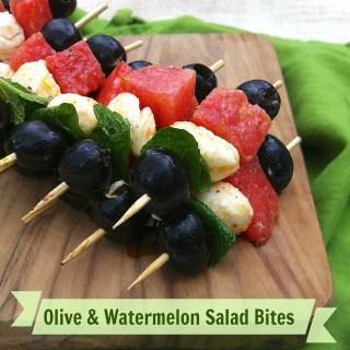 Olive Watermelon Salad Bites | Teaspoonofspice.com
