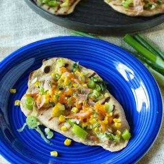 Corn Onion Ham Grilled Pizza | Teaspoonofspice.com