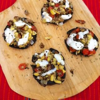 Grilled Veggie Portobello Mushroom Pizzas | Teaspoonofspice.com