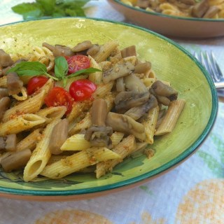 Penne with Almond Pesto and Eggplant