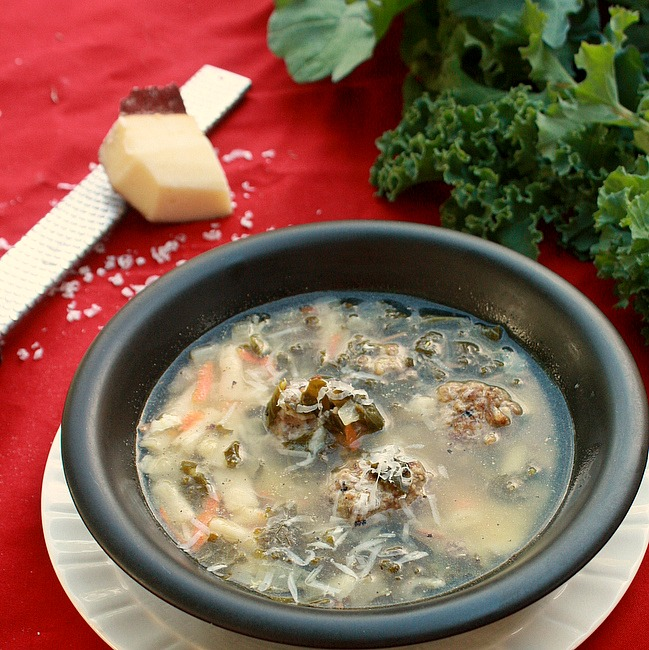 Easy way to cook protein rich meatballs in the slow cooker for Parmesan cheese rind soup />> Homemade Italian Wedding Soup with Kale | @TspCurry For more soup recipes: TeaspoonOfSpice.com