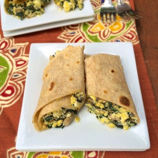 Egg, Mushroom and Kale Breakfast Burrito