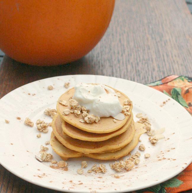Granola topped pumpkin pancakes via @tspcurry
