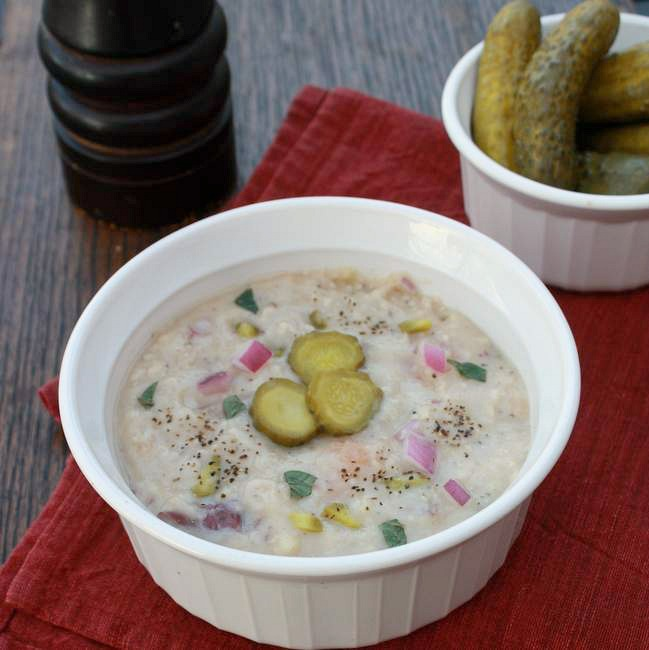 Pickle soup with pureed veggies