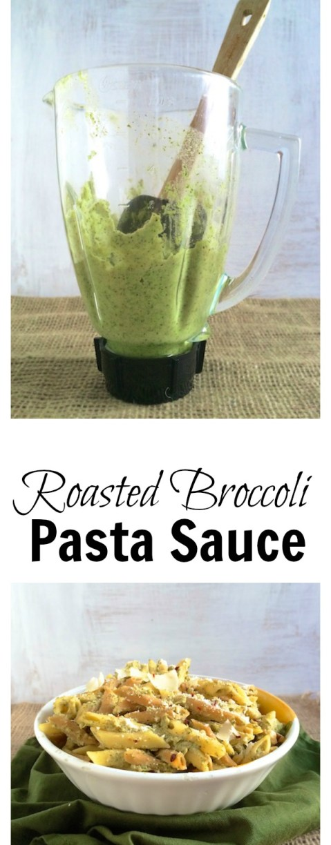 Pureed roasted broccoli with white beans and pasta water makes for a rich, flavorful vegetarian pasta sauce | Teasponofspice.com