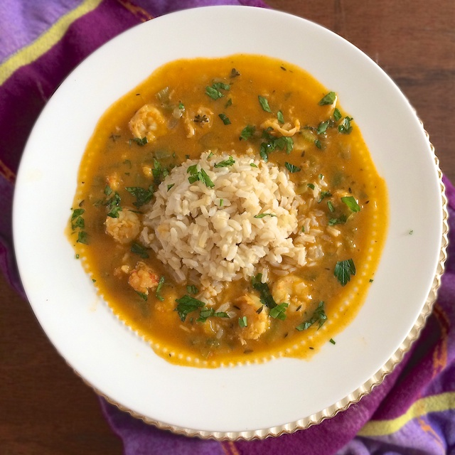 Celebrate Mardi Gras and New Orleans cuisine with this healthier version of étouffée featuring shrimp, langostino and brown rice.