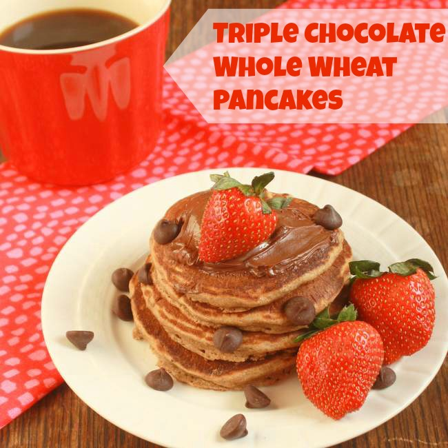 Triple Chocolate Whole Wheat Pancakes | TeaspoonOfSpice.com