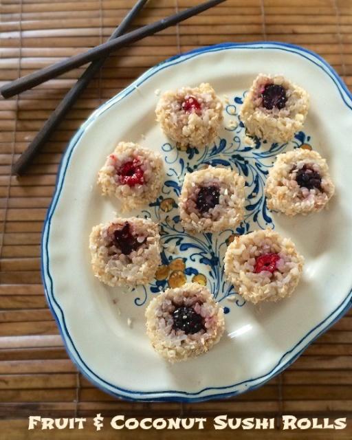 #HealthyKitchenHacks: April Fool's Sushi (Fruit & Coconut Sushi Rolls) via @tspbasil