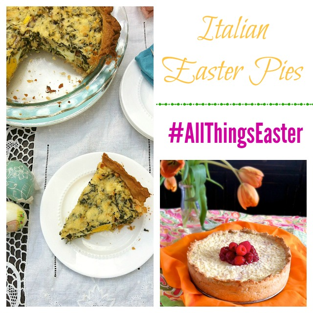 Serve a traditional Italian Easter Pie this year like this savory greens version with hard baked eggs cooked inside or a sweet pie made with ricotta and arborio rice. teaspoonofspice.com @tspbasil