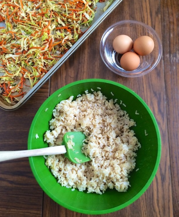 Use leftover cabbage and leftover brown rice to make this roasted veggie healthy version of fried rice. | Teaspoonofspice.com @tspbasil