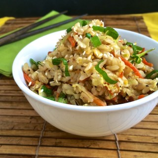 Stir fry roasted cabbage with carrots and day old brown rice for a healthy and tasty vegetable fried rice meal. | Teaspoonofspice.com @tspbasi