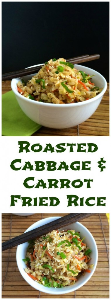 Stir fry roasted cabbage with carrots and day old brown rice for a healthy and tasty vegetable fried rice meal.   Teaspoonofspice.com @tspbasil